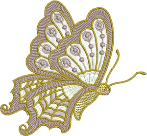 Butterfly Side Embroidery Motif - 06 -  Everlasting Embroidery - by Sue Box