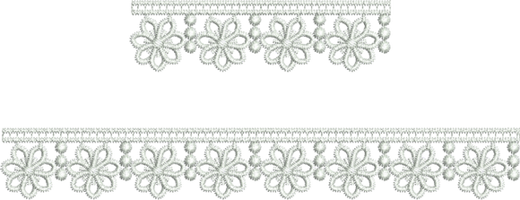 Lace Flower border Embroidery Motif - 06 - Classic Lace - by Sue Box