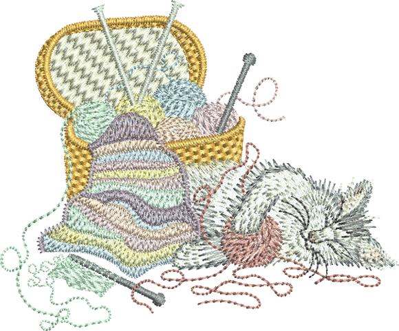 Kitten Embroidery Motif - 06 - Creative Little Homemakers by Sue Box