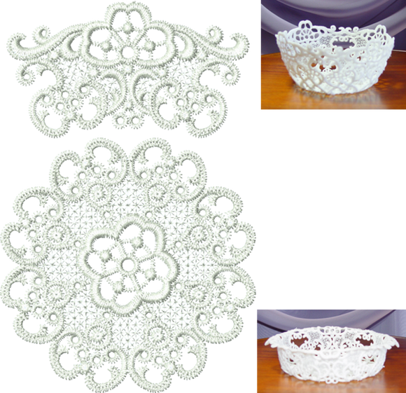 Lace Small Bowl Set FSL Embroidery Motif - 06 -  Specialty Lace by Sue Box