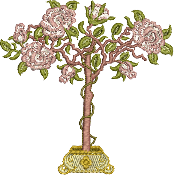 Standard Rose Embroidery Motif - 06 - Golden Classic - by Sue Box