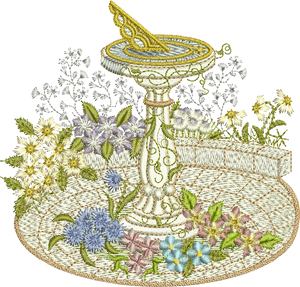 Sundial A Embroidery Motif - 06 -  Creative Floral Gardens by Sue Box