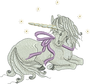 Unicorn Fairy Embroidery Motif - 06 - Enchanted Fairy Treasures - by Sue Box