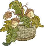 Acorn Basket Embroidery Motif - 07 -  Woodland Treasures - by Sue Box