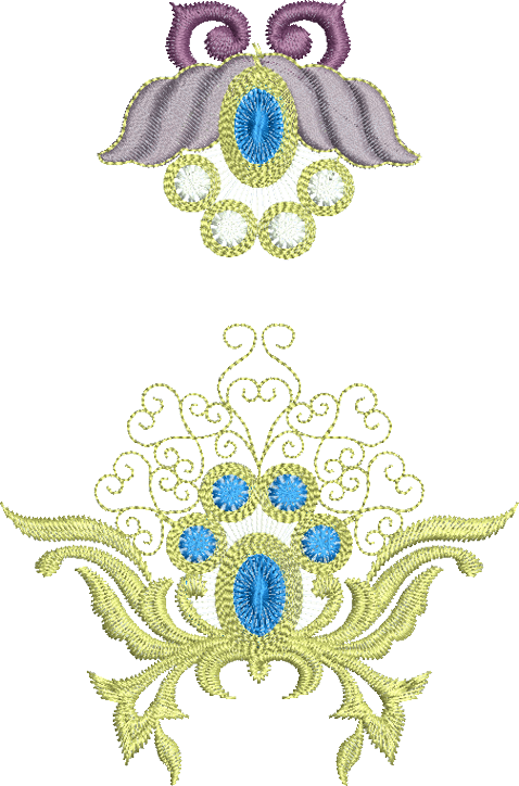 Jewel Motif A and Flower 4 Embroidery Designs - 07 - Metallic Thread designs by Sue Box