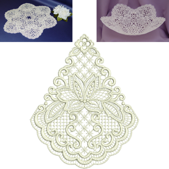 Lacy Flower Doily and Bowl Set Embroidery Motif by Sue Box