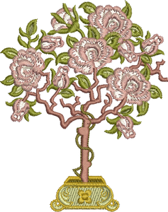 Rose Tree Embroidery Motif - 07 - Golden Classic - by Sue Box