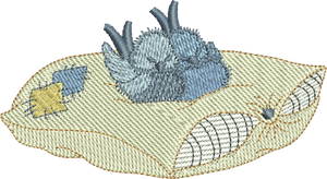 Bluebirds - Sleepy Birds Embroidery Motif - 07 -  Timeless Teddy Bear Treasures - by Sue Box