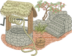 Wishing Well Embroidery Motif - 07 -  Traditional Homes and Gardens - by Sue Box