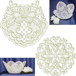 Lace - Exclusive Bowl Set Embroidery Motif by Sue Box