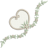 Heart and Flowers Bow Embroidery Motif - 09 -  Embroidery Inspirations - by Sue Box