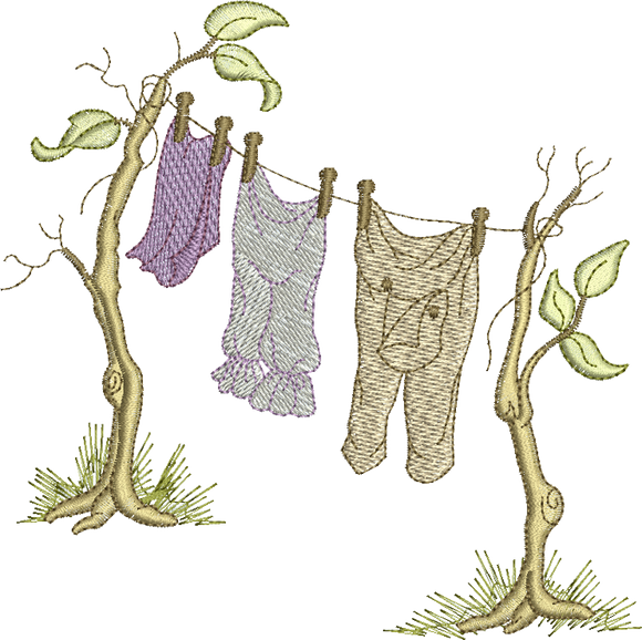 Washing Line Embroidery Motif - 09 -  Woodland Treasures - by Sue Box