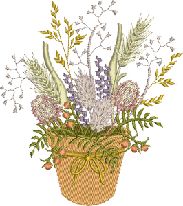 Wildflowers In Pot Embroidery Motif - 09 -  Floral Illusions - by Sue Box