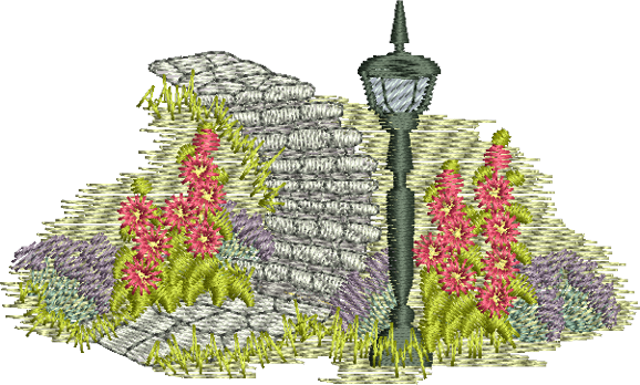 Gables Garden Steps Embroidery Motif - 10 -  Traditional Homes and Gardens - by Sue Box