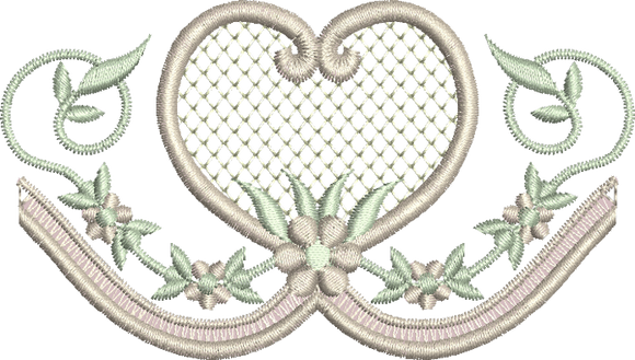Heart and Flower Border Embroidery Motif - 10 -  Embroidery Inspirations - by Sue Box