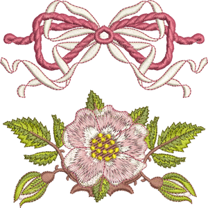 Bow and Briar Edge Embroidery Motif Set -11 - Golden Classic - by Sue Box