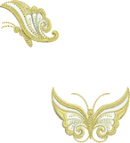 Butterfly A and Butterfly B Gold Embroidery Motifs - 11 - Metallic Thread designs by Sue Box