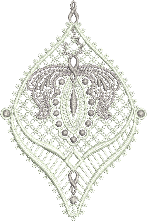 Lace Jewel Embroidery Motif 4 - 11 - Classic Lace - by Sue Box