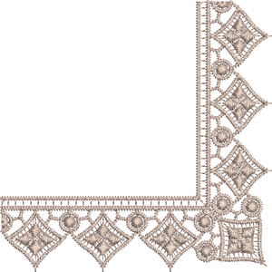 Lace - Old Lace Border Corner Embroidery Motif - 11 - Designer Lace - by Sue Box