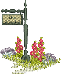 Gables Garden Sign Embroidery Motif - 12 -  Traditional Homes and Gardens - by Sue Box