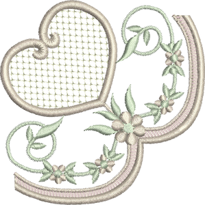 Heart and Flowers Border Corner Embroidery Motif - 12 -  Embroidery Inspirations - by Sue Box