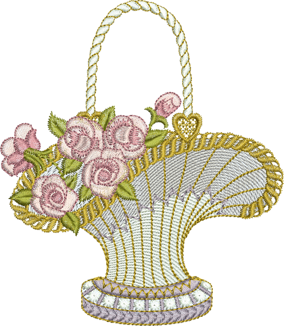 Flower Basket Embroidery Motif - 13 - Endearing Embroidery design by Sue Box