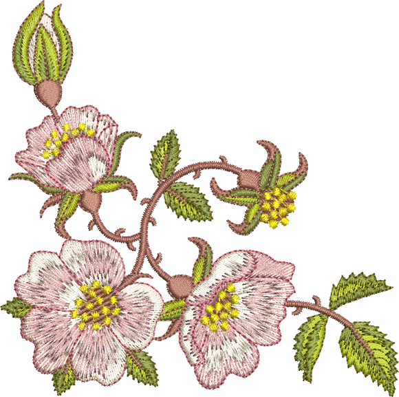 Rose Corner Embroidery Motif -13 - Golden Classic - by Sue Box