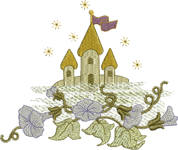 Fairy Castle Embroidery Motif - 13 - Enchanted Fairy Treasures - by Sue Box