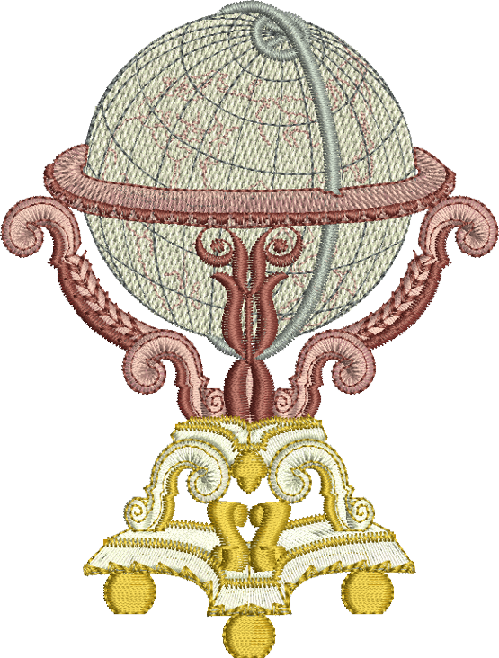 Globe Embroidery Motif - 13 -  A Romantic Era - by Sue Box