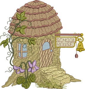Hedgehog School House Embroidery Motif - 13 -  Woodland Treasures - by Sue Box