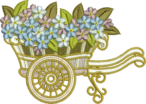 Barrow and Flowers Embroidery Motif - 14 -  Everlasting Embroidery - by Sue Box