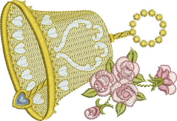 Bell and Roses Embroidery Motif - 14 - Endearing Embroidery design by Sue Box