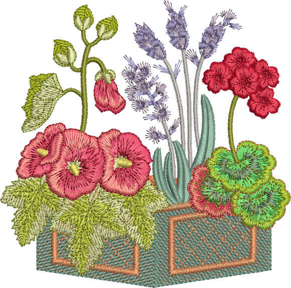 Country Flowers Embroidery Motif - 14 -  Traditional Homes and Gardens - by Sue Box