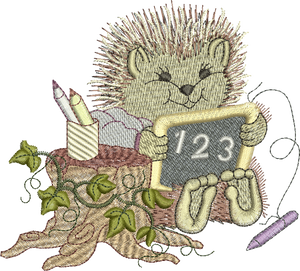 Hedgehog - Harold Hedgehog Embroidery Motif - 14 -  Woodland Treasures - by Sue Box