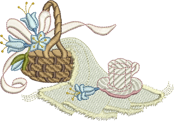 Teddy Bears Picnic Basket Embroidery Motif - 14 -  Timeless Teddy Bear Treasures - by Sue Box