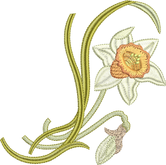 Daffodil Flower Spray Embroidery Motif - 14 -  Embroidery Favourites by Sue Box