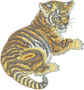 Tiger - Cat Embroidery Motif -14 - Zoo Babies by Sue Box