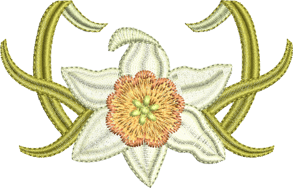 Daffodil Flower Bloom Embroidery Motif - 15 -  Embroidery Favourites by Sue Box