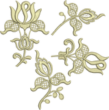 Flower Applique 4 Design Set Embroidery Motif - 15 -  Floral Illusions - by Sue Box