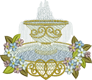 Fountain and Flowers Embroidery Motif - 15 -  Everlasting Embroidery - by Sue Box
