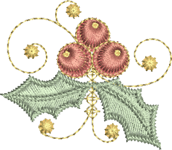 Christmas Holly Embroidery Motif - 15 - Sparkling Christmas Collection by Sue Box