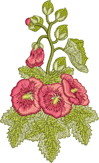 Hollyhock Flowers Embroidery Motif - 15 -  Traditional Homes and Gardens - by Sue Box