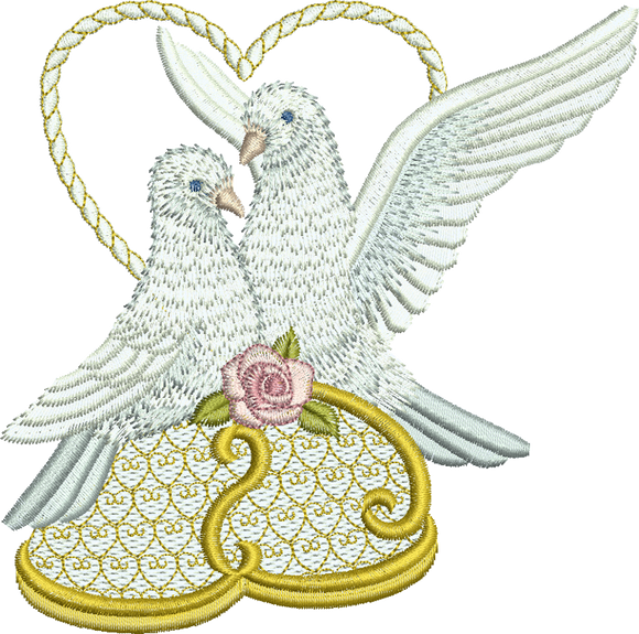 Dove Love Birds Embroidery Motif - 15 - Endearing Embroidery design by Sue Box