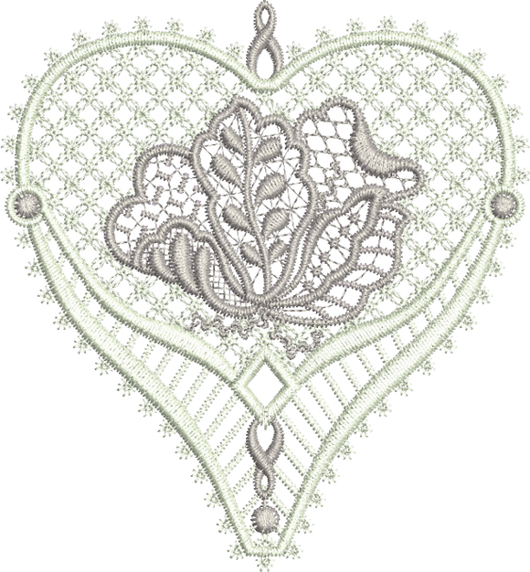 Lace Jewel Heart Embroidery Motif - 16 - Classic Lace - by Sue Box