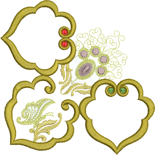 Jewelled Motif Borders Set 2 - Corner 2 - Embroidery Motif - 16 - Metallic Thread designs by Sue Box
