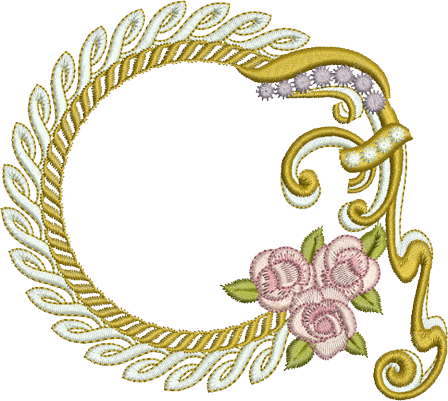 Wreath and Roses Embroidery Motif - 16 - Endearing Embroidery design by Sue Box