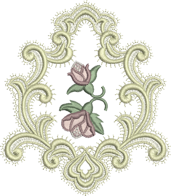 Frame and Rose Buds Embroidery Motif - 17 -  A Romantic Era - by Sue Box