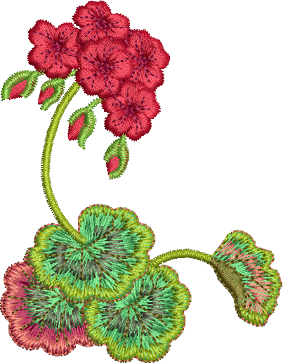 Geranium Flower Corner 1 Embroidery Motif - 17 -  Traditional Homes and Gardens - by Sue Box