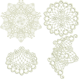 Lace Doily 3 Piece Set Embroidery Motif - 17 - Designer Lace - by Sue Box