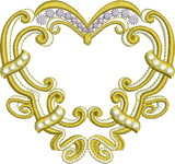 Gold Heart Embroidery Motif - 18 - Endearing Embroidery design by Sue Box